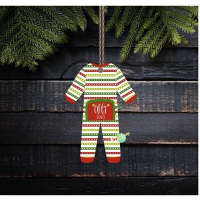 Striped RUFFLED Christmas Bum Flap Pajama Ornament PNG | Christmas Pajama PNG | Christmas Pajamas Sublimation | Christmas | Christmas art