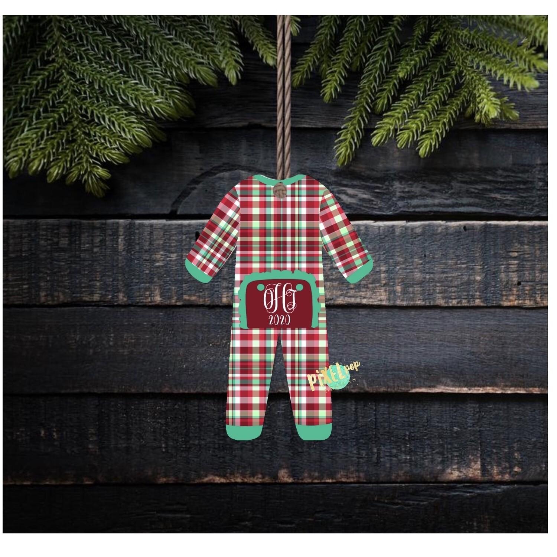 Christmas Plaid RUFFLED Bum Flap Pajama Ornament PNG   Christmas Pajama PNG   Christmas Pajamas Sublimation   Christmas   Christmas Clipart