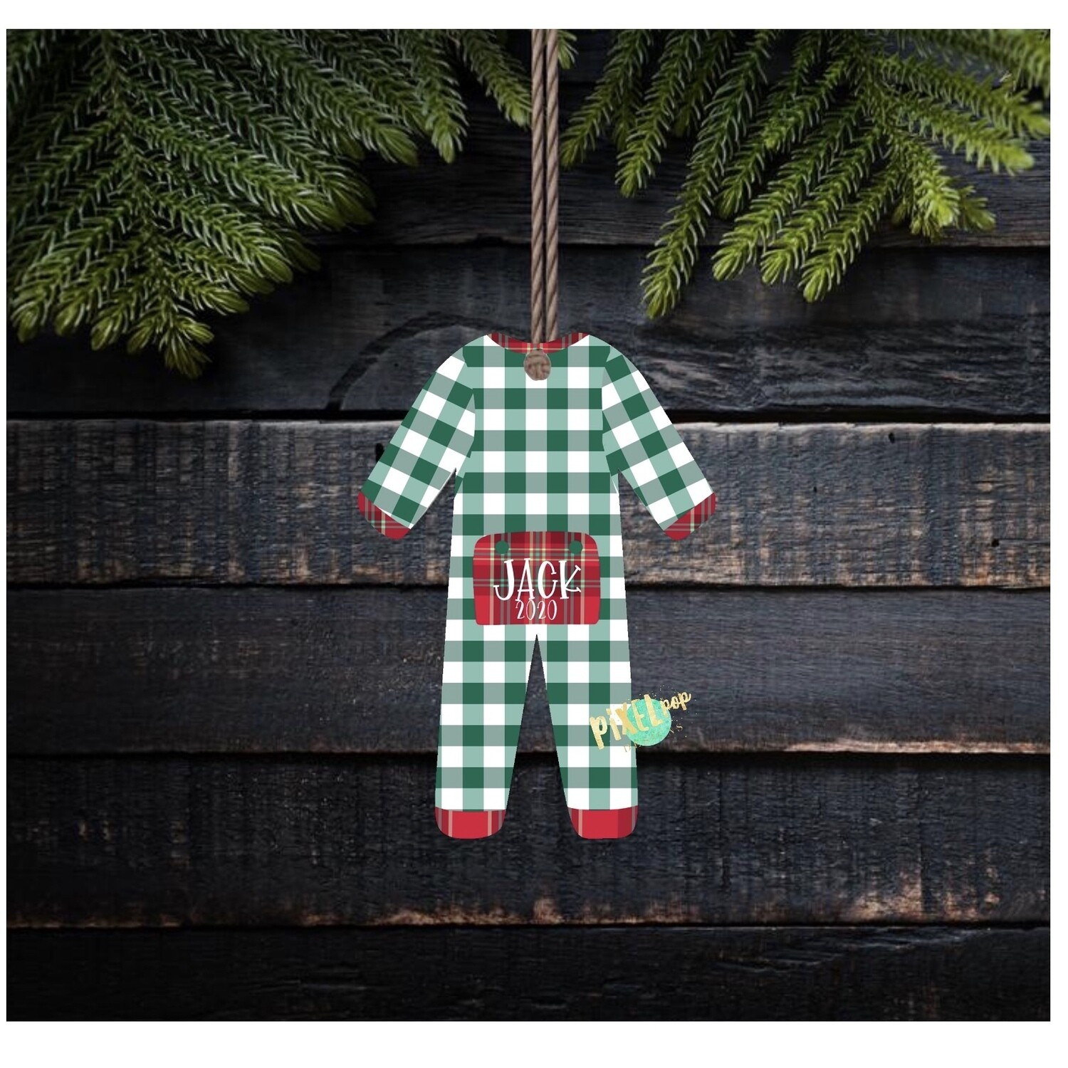 Green Plaid  Bum Flap Pajama Ornament PNG | Christmas Pajama PNG | Christmas Pajamas Sublimation | Christmas | Christmas Clipart