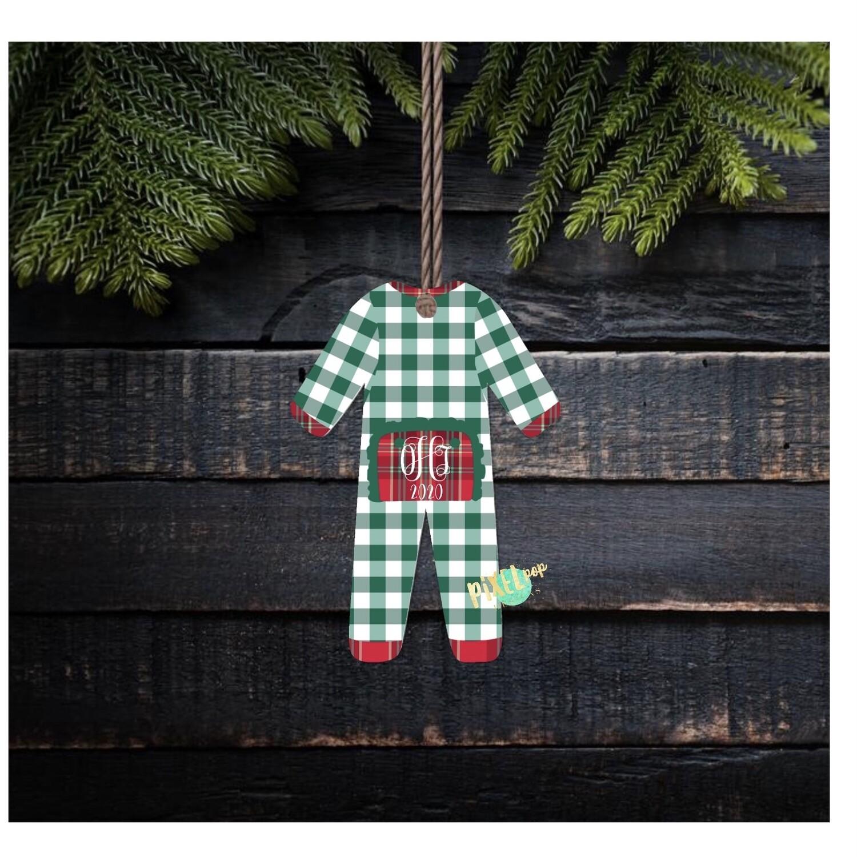 Green Plaid RUFFLED Bum Flap Pajama Ornament PNG   Christmas Pajama PNG   Christmas Pajamas Sublimation   Christmas   Christmas Clipart