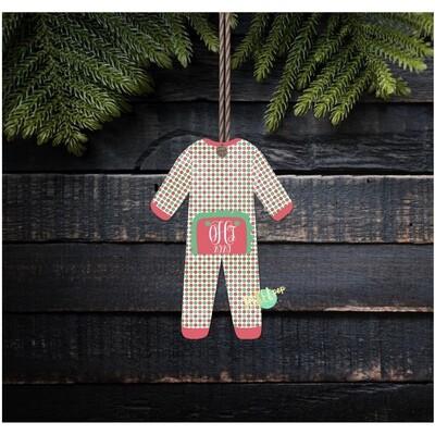 Vintage Dot RUFFLED Bum Flap Pajama Ornament PNG | Christmas Pajama PNG | Christmas Pajamas Sublimation | Christmas | Christmas Clipart