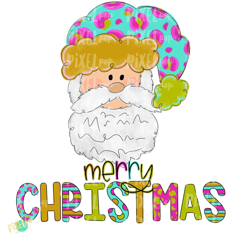Santa Claus Merry Christmas Leopard Turquoise PNG   Sublimation   Santa   Santa Art   Christmas   Digital Download   Printable Artwork   Art