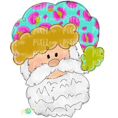 Santa Claus Leopard Turquoise PNG | Christmas Sublimation | Santa | Santa Clip Art | Christmas | Digital Download | Printable Artwork | Art
