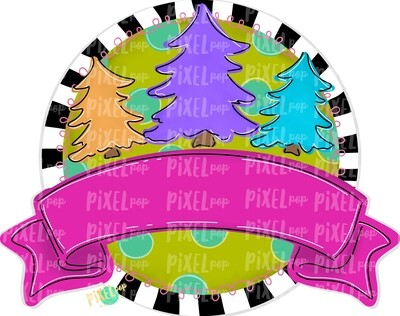 Christmas Trees Round with Blank Banner PNG | Christmas Design | Hand Painted | Sublimation PNG | Digital Download | Printable Artwork | Art