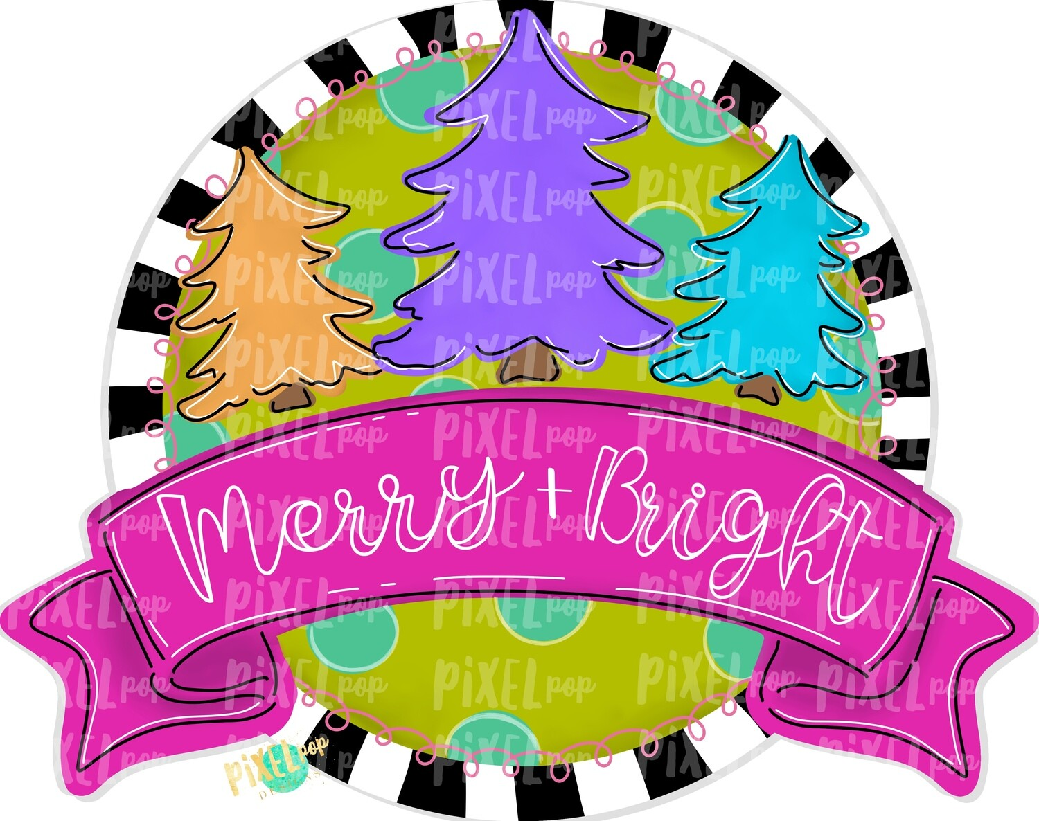 Merry and Bright Christmas Trees Round with Banner PNG | Christmas Design | Sublimation PNG | Digital Download | Printable Artwork | Art