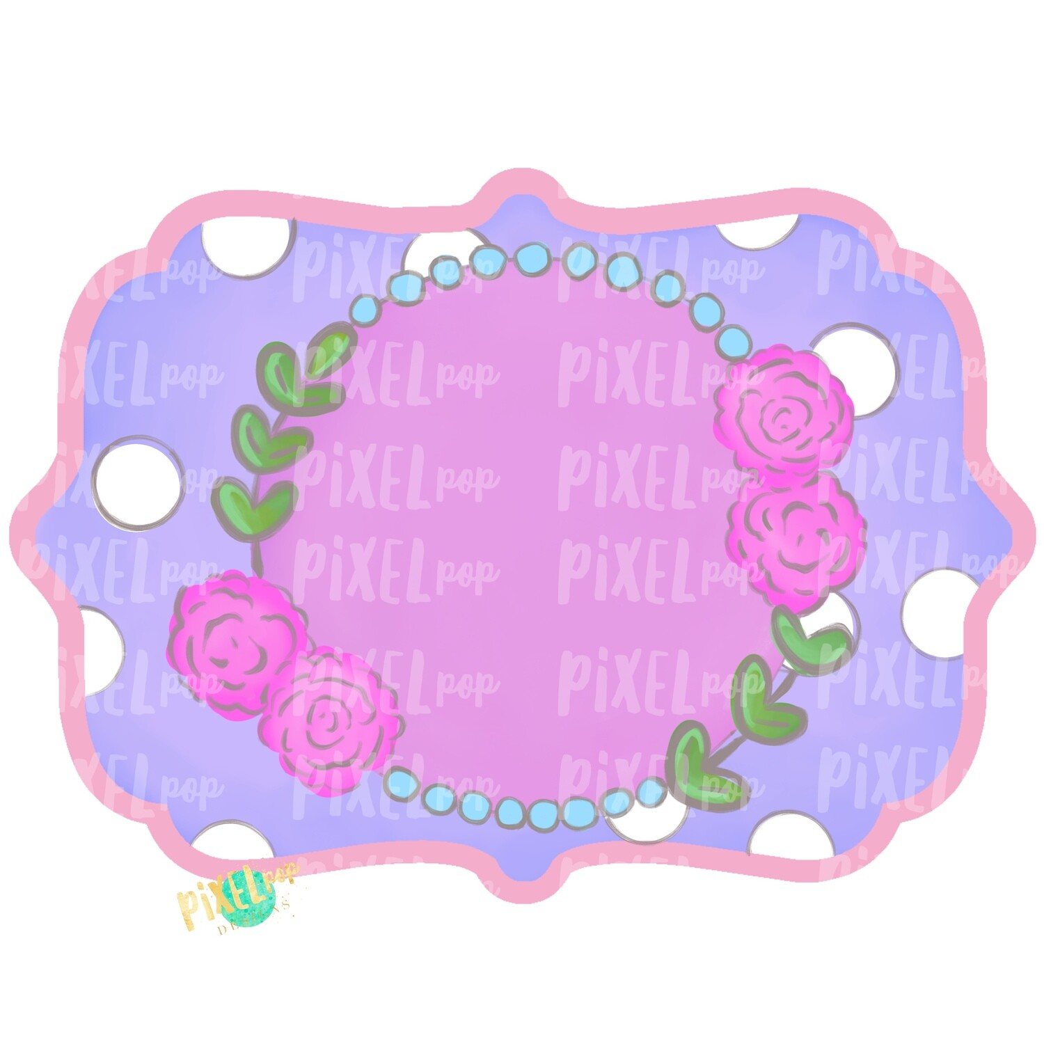Chic Frame with Flowers Purple and Pink PNG | Hand Painted Ornament Design | Sublimation PNG | Digital Download | Printable Artwork | Art