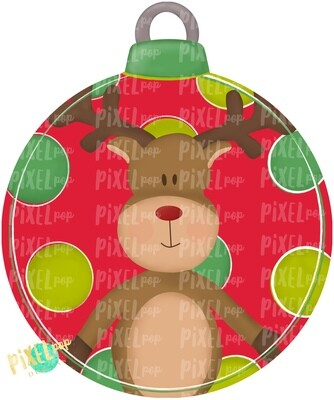 Reindeer Round Ornament Blank PNG | Christmas Design | Christmas Ornament | Hand Painted Design | Winter Art | Digital Download | Printable