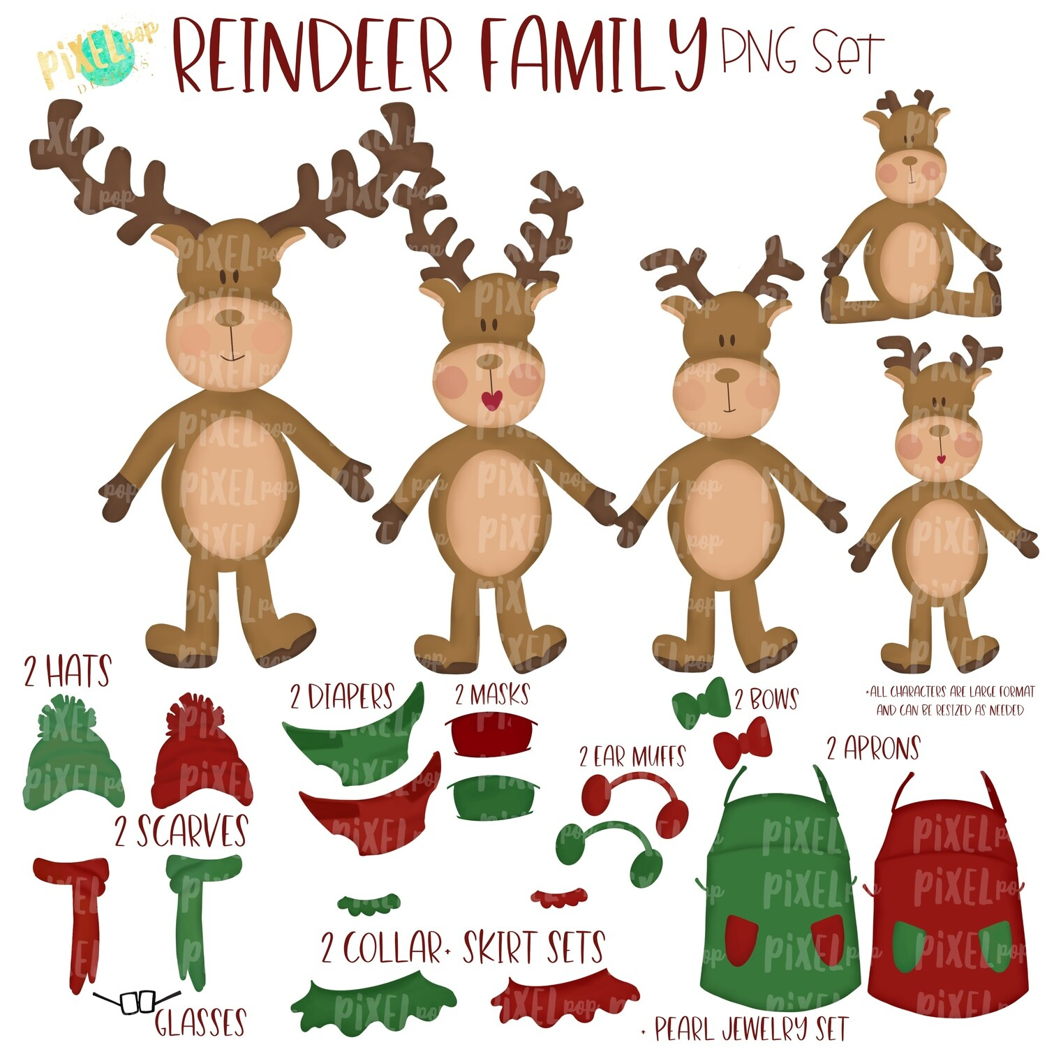 Reindeer Family PNG Set with Accessories | Reindeer Ornament Images | Christmas PNG | Reindeer Design | Sublimation Art |  | Printable