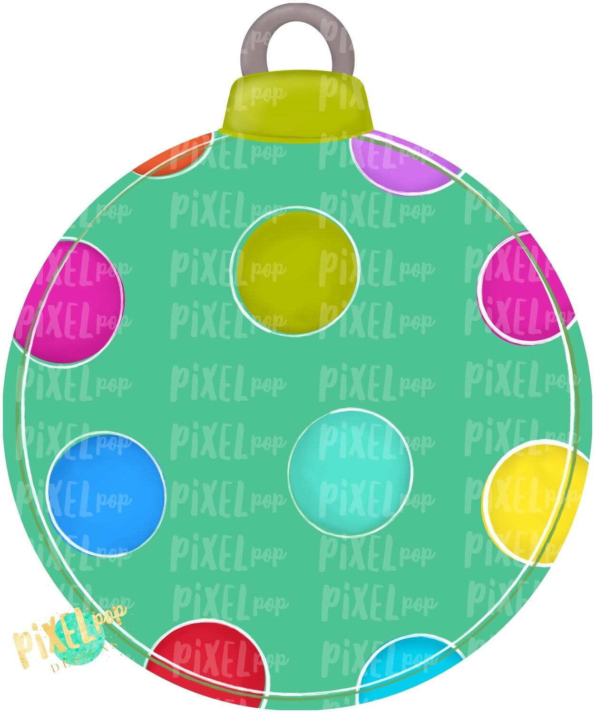 Polka Dot Round Ornament Blank PNG | Christmas Design | Christmas Ornament | Hand Painted Design | Winter Art | Digital Download | Printable