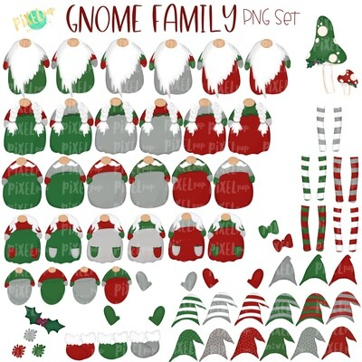Gnome Family PNG Set with Accessories | Gnome Christmas Images | Ornament | Christmas PNG | Gnome Design | Sublimation Art |  | Printable