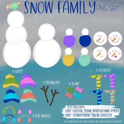 Snowman Family PNG Set with Accessories | Snowman Ornament Images | Christmas PNG | Snowman Design | Sublimation Art |  | Printable