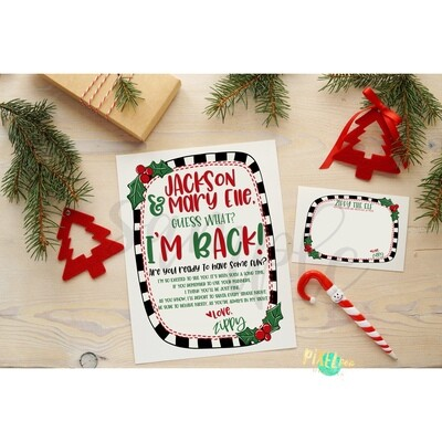 Custom ELF Printables - Your Elf is Back Letter and Personalized Note Cards