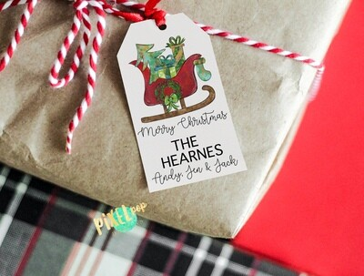 Custom DIY Printable Gift Tags - Santa's Sleigh