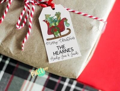 Custom DIY Printable Gift Tags - Santa's Sleigh