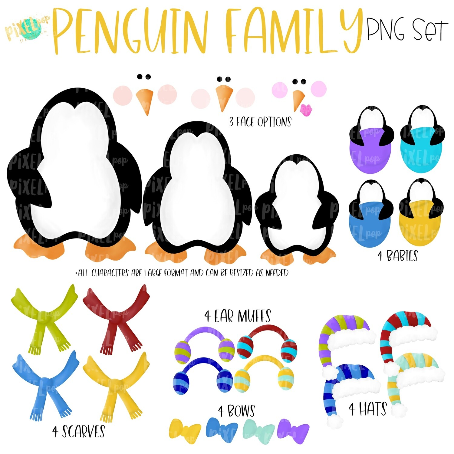 Penguin Family PNG Set with Accessories | Penguin Ornament Images | Christmas PNG | Penguin Design | Sublimation Art |  | Printable