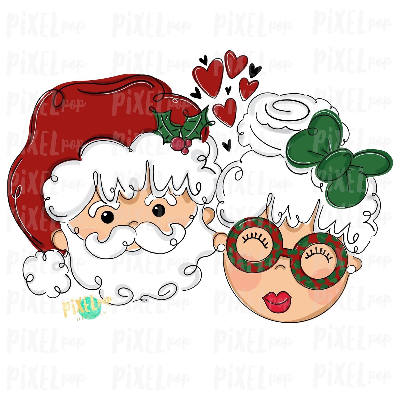 Santa and Mrs. Claus Hearts PNG | Christmas Art | Sublimation | Santa | Santa Clip Art | Christmas | Digital Download | Printable Artwork