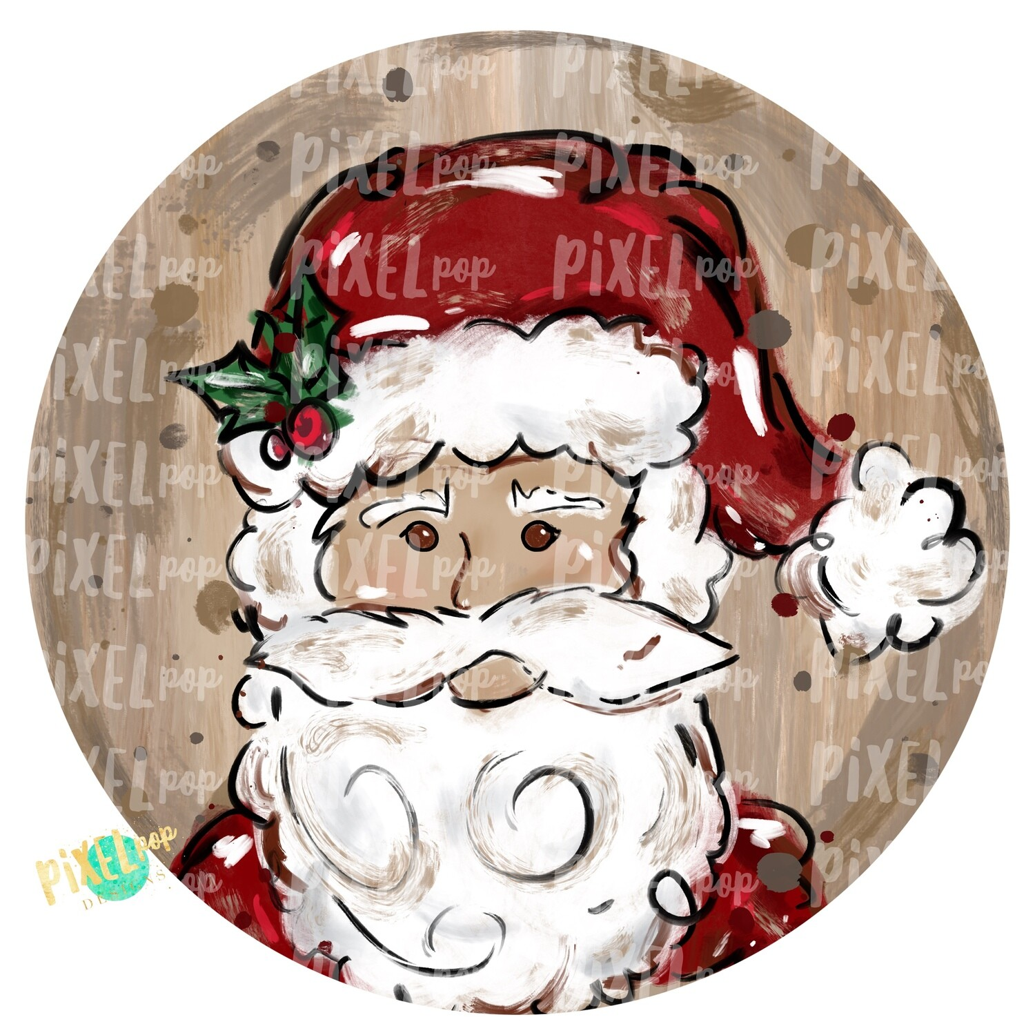 Texture Painted Santa Claus in Circle PNG | Christmas Sublimation | Santa | Santa Art | Christmas | Digital Download | Printable Artwork