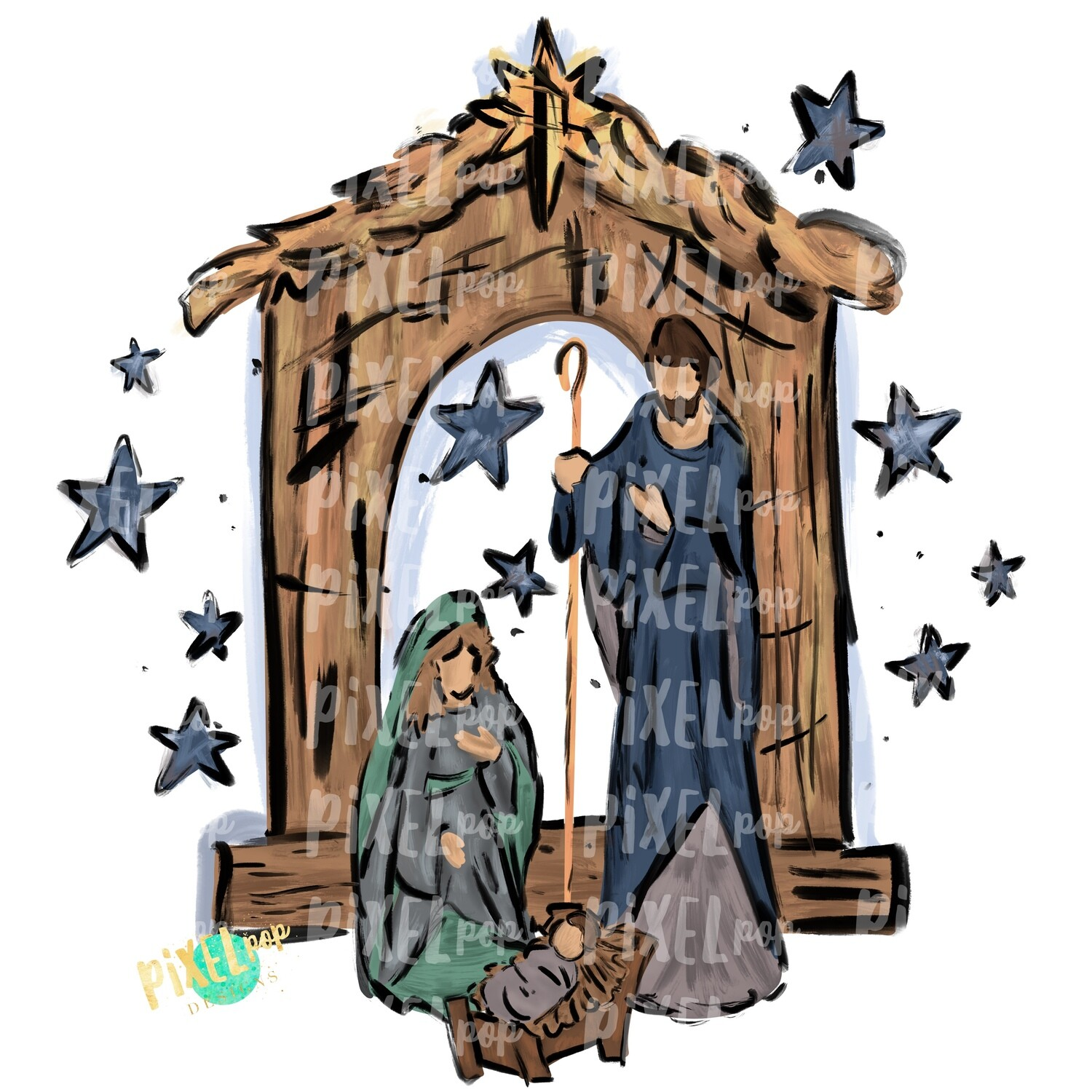 Nativity Textured Painted PNG | Religious Art | O Holy Night | Digital Painted Art | Sublimation PNG | Digital Download | Printable Artwork