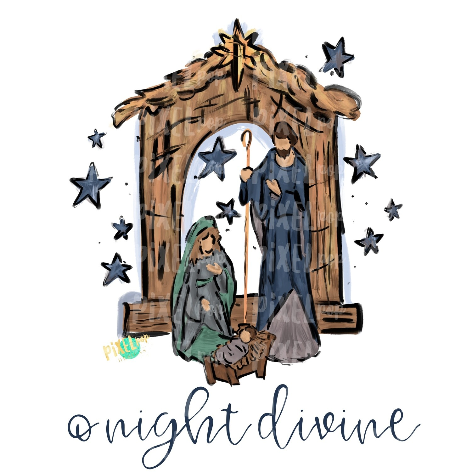 Nativity O Night Divine PNG | Religious Art | O Holy Night | Digital Painted Art | Sublimation PNG | Digital Download | Printable Artwork