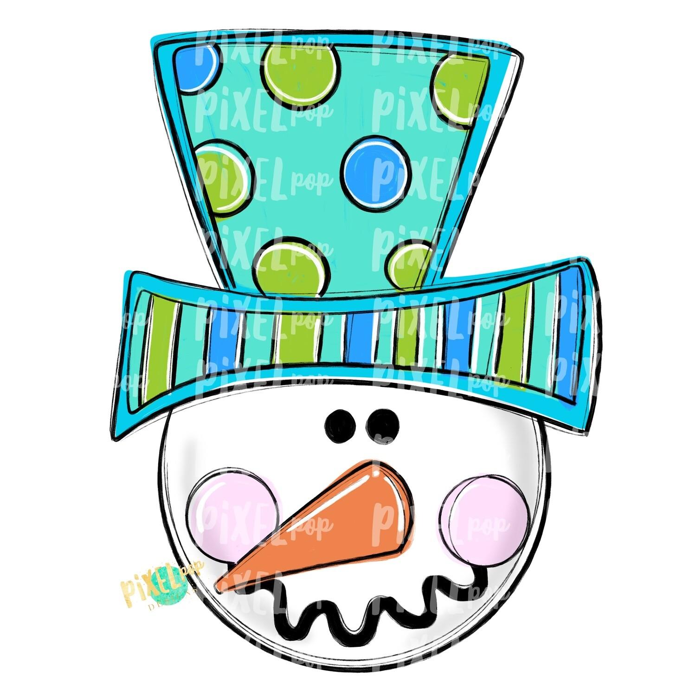 Snowman Head Aqua PNG | Sublimation Design | Snowman | Snowman Sublimation | Hand Drawn Art | Winter Art | Digital Download