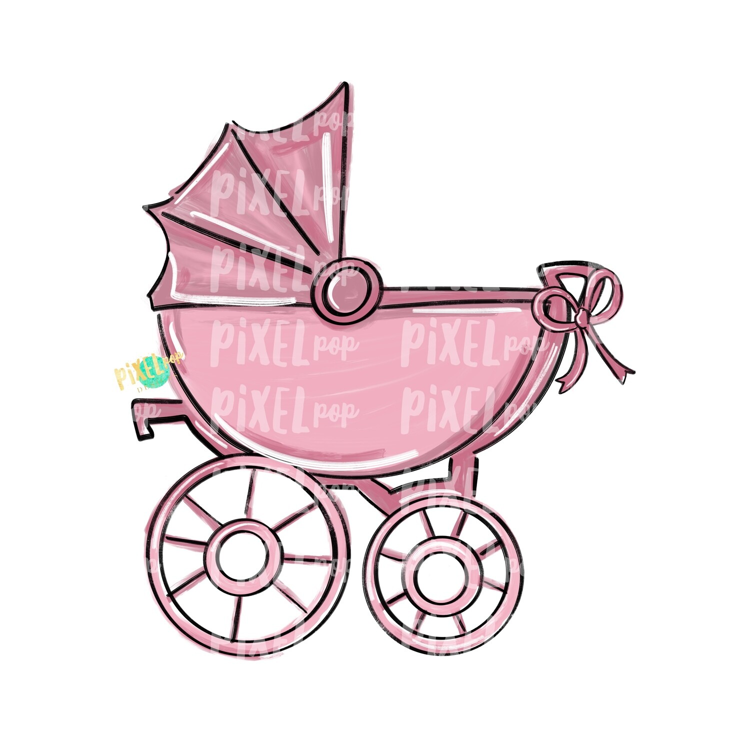 Pink Baby Buggy PNG | Baby Clip Art | New Baby PNG | Baby's First Christmas | Baby Shower | Pram | Baby Shower Art | Pram Art | Baby Buggy