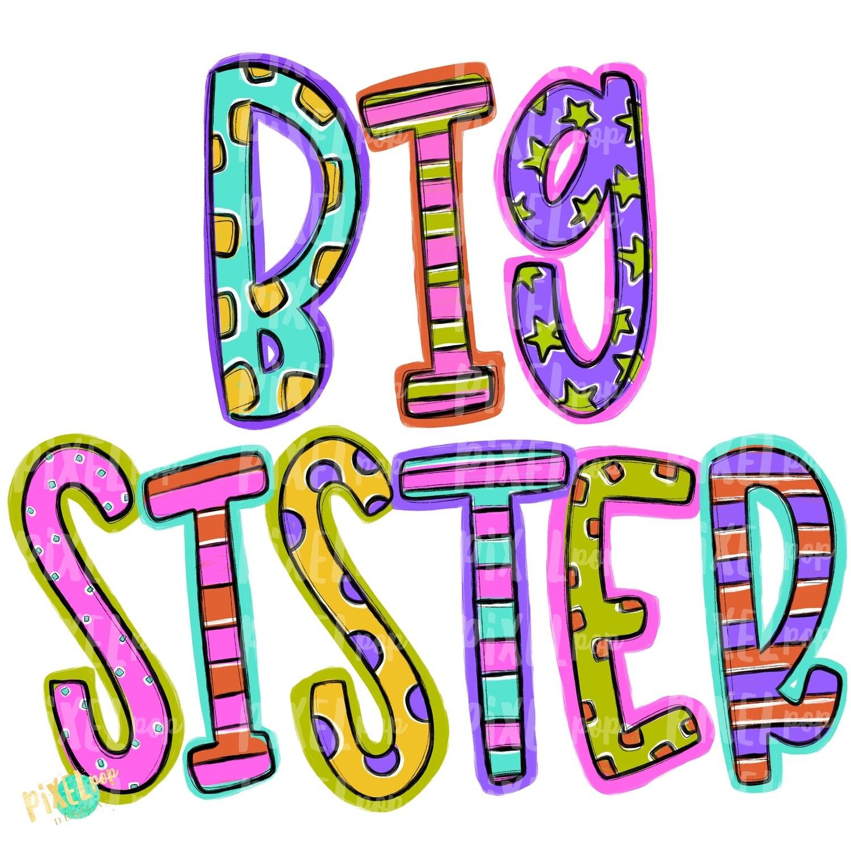 Big Sister Spring Colors PNG | Big Sister Art | Big Sister Sublimation | Big Sister Clip Art | Sisters | Sibling Clip Art | Sister Clip Art