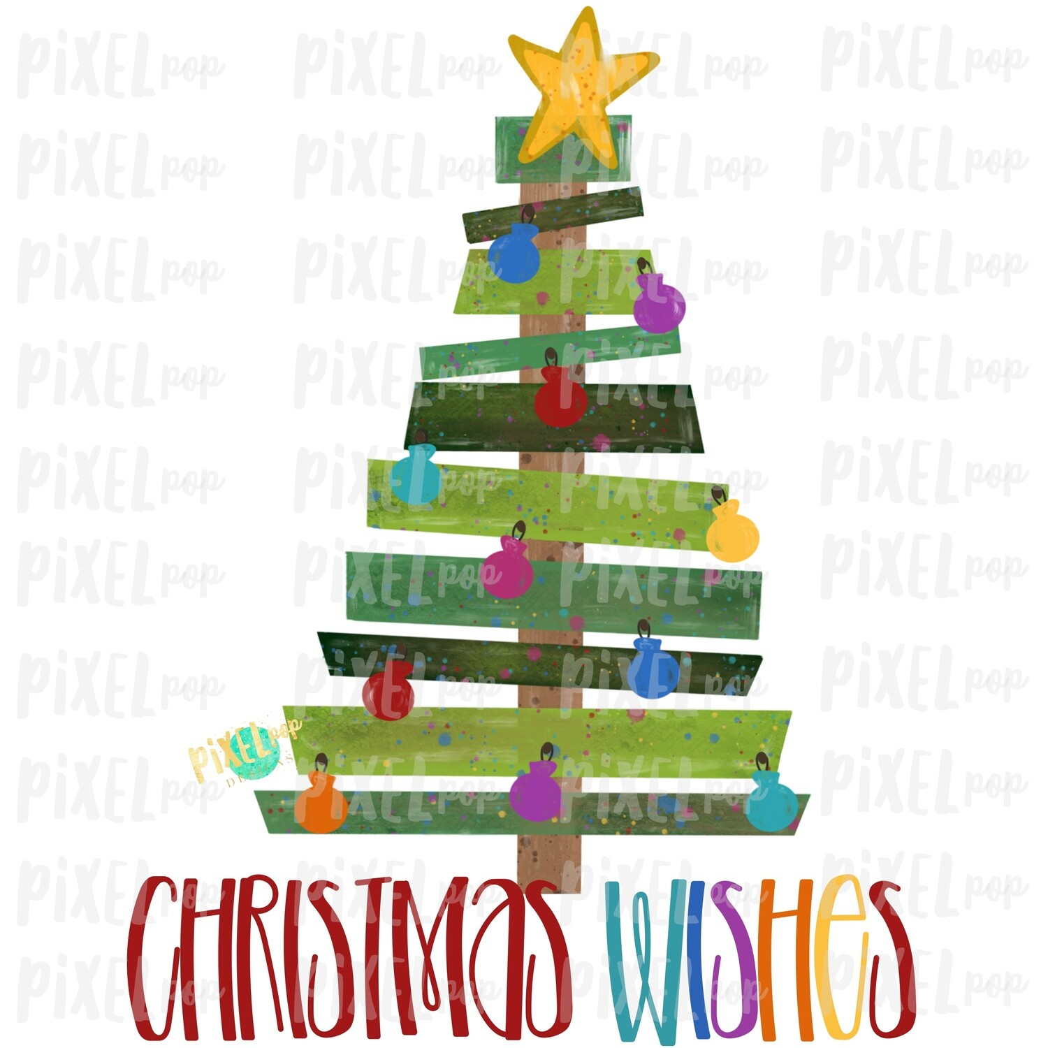 Christmas Wishes Wood Pallet Christmas Tree Sublimation PNG | Hand Painted Design | Sublimation PNG | Digital Download | Printable Artwork