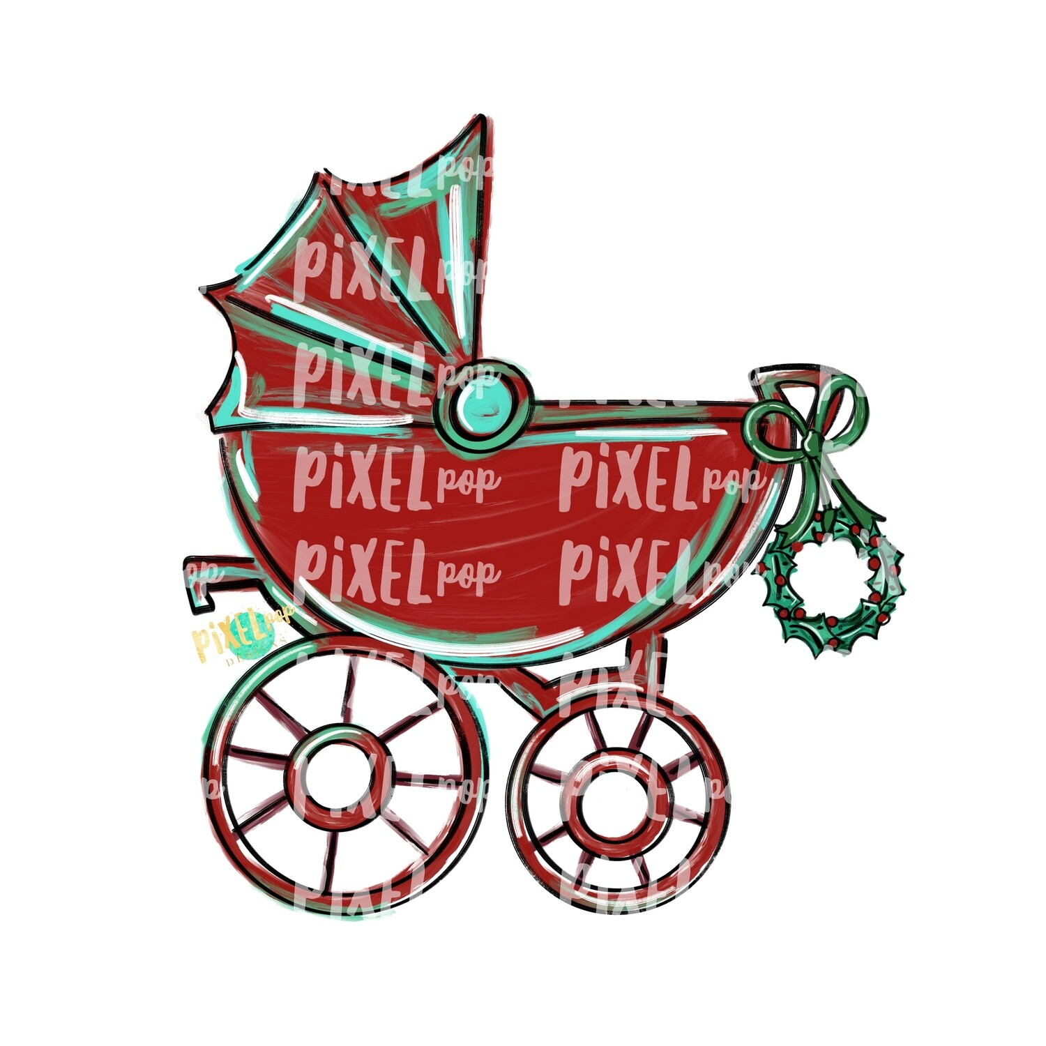 Christmas Baby Buggy PNG | Baby Clipart | New Baby Baby's First Christmas | Baby Shower | Pram | Baby Shower Art | Pram Art | Baby Buggy