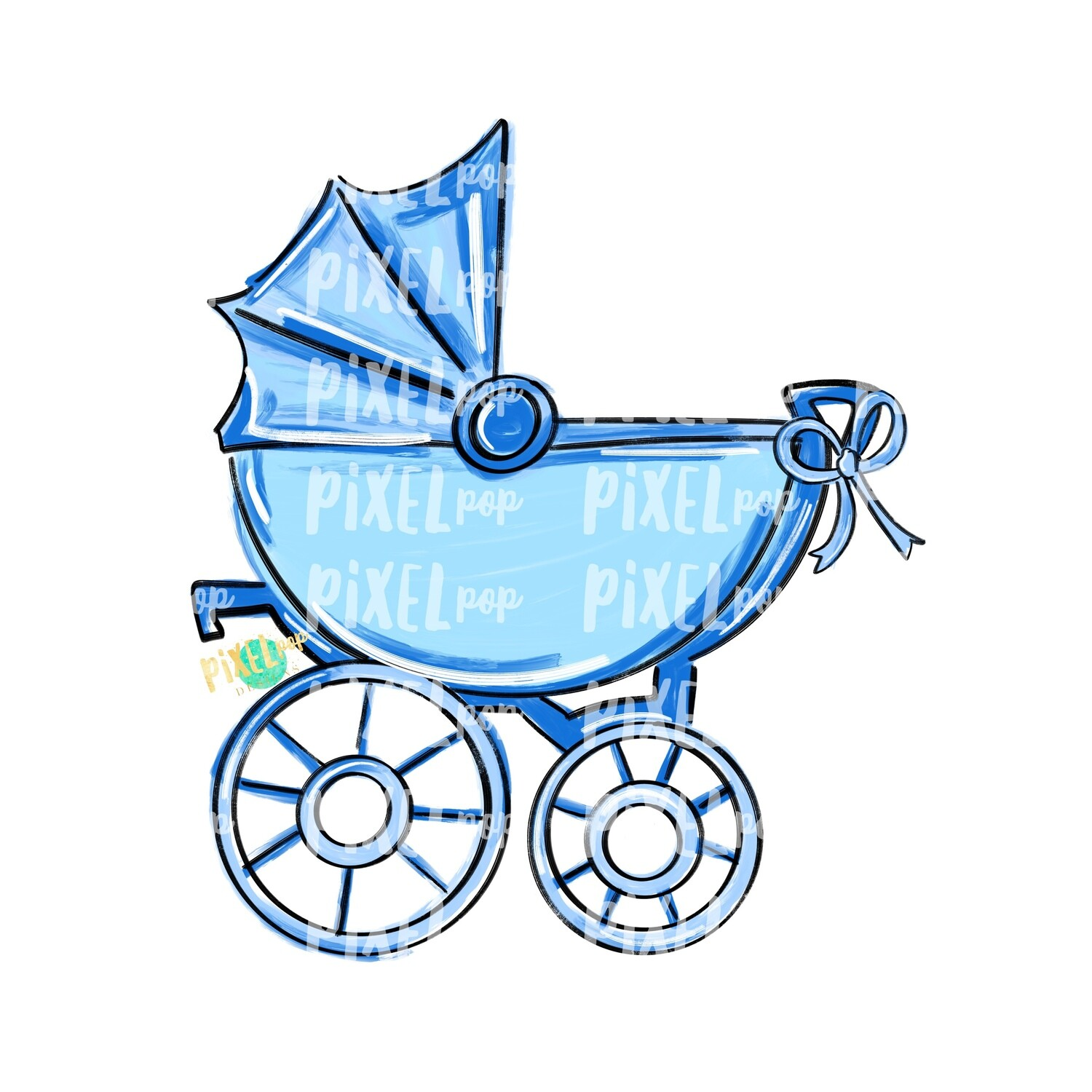 Blue Baby Buggy PNG | Baby Clip Art | New Baby PNG | Baby's First Christmas | Baby Shower | Pram | Baby Shower Art | Pram Art | Baby Buggy