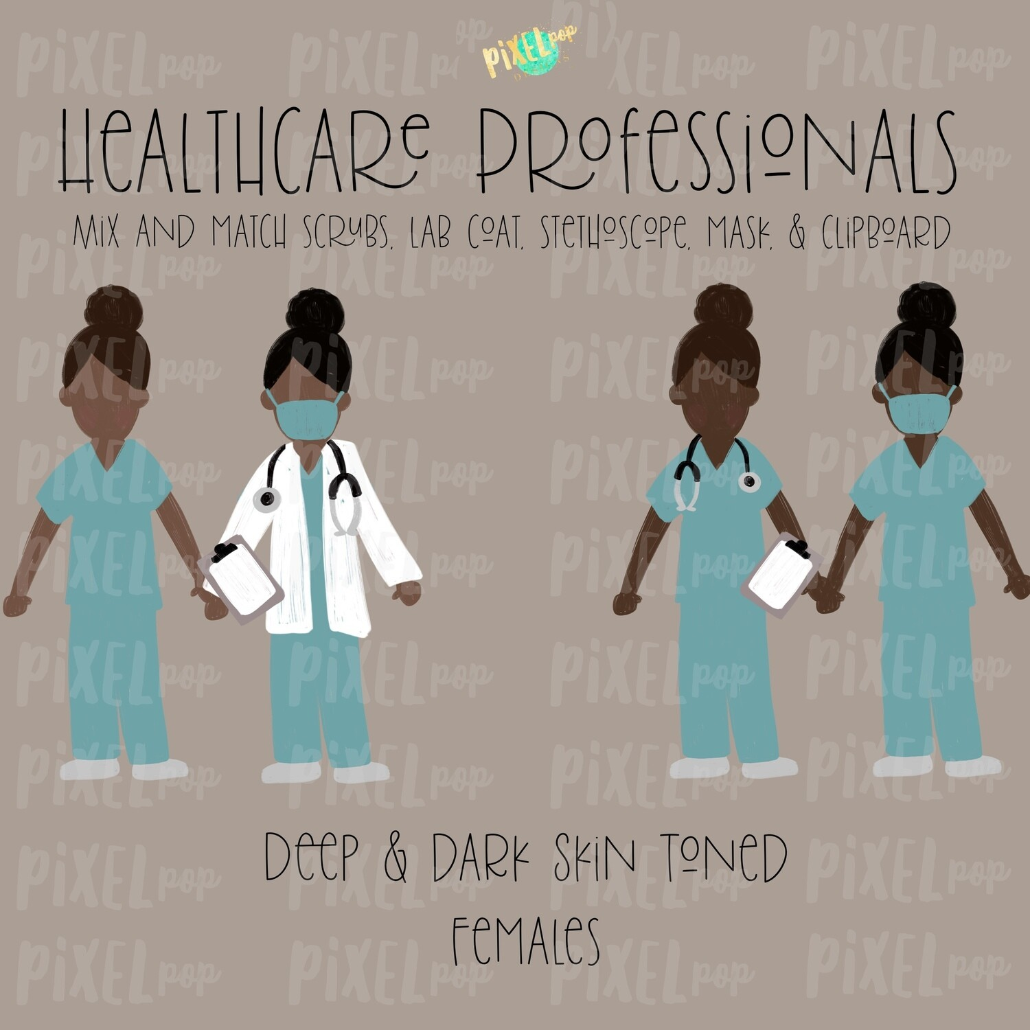 Female Healthcare Professionals Deep and Dark Skin Tone Stick Figure PNG Set | Stick People | Stick Figure | Nurse PNG | Doctor