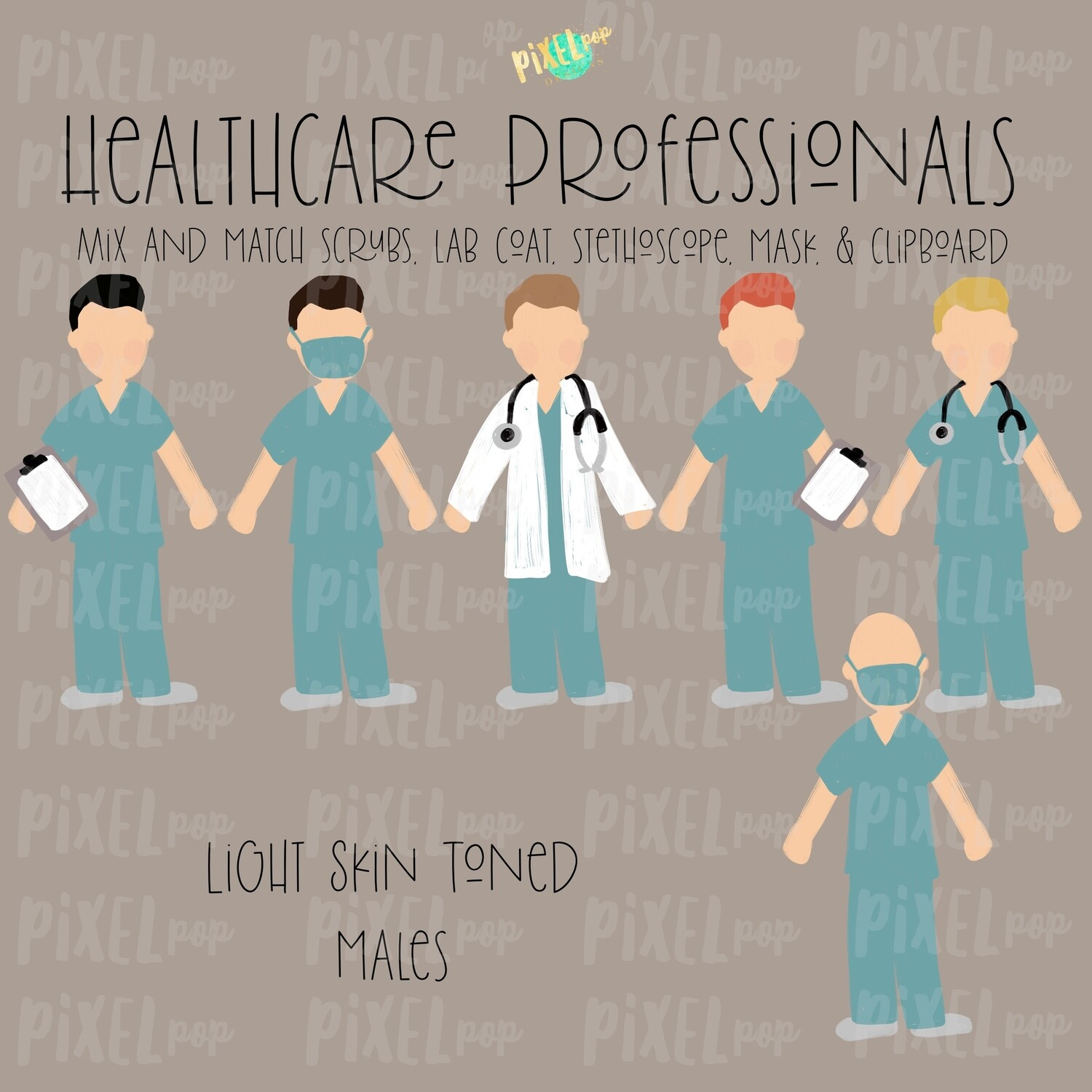Male Healthcare Professionals Fair Skin Tone Stick Figure PNG Set | Stick People | Stick Figure | Family Portrait | Nurse PNG | Doctor