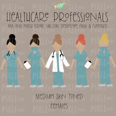 Female Healthcare Professionals Medium Skin Tone Stick Figure PNG | Stick People | Stick Figure | Nurse PNG | Doctor