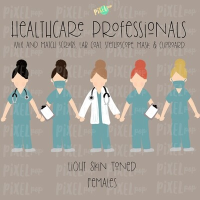 Female Healthcare Professionals Fair Skin Tone Stick People Figures PNG | Stick People | Stick Figure | Nurse PNG | Doctor