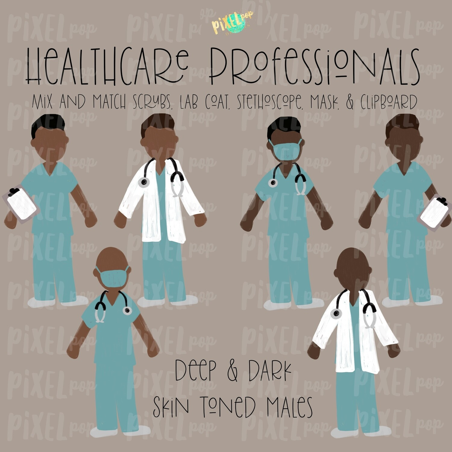 Male Healthcare Professionals Deep and Dark Skin Tone Stick Figure PNG Set | Stick People | Stick Figure | Nurse PNG | Doctor