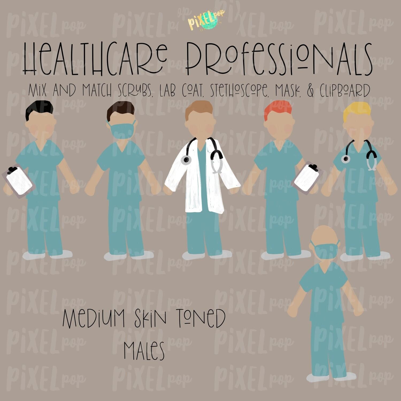 Male Healthcare Professionals Medium Skin Tone Stick Figure PNG Set | Stick People | Stick Figure | Nurse PNG | Doctor