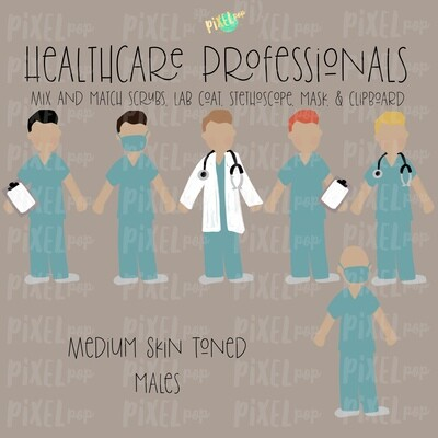Male Healthcare Professionals Medium Skin Tone Stick Figure PNG Set | Stick People | Stick Figure | Nurse PNG | Doctor