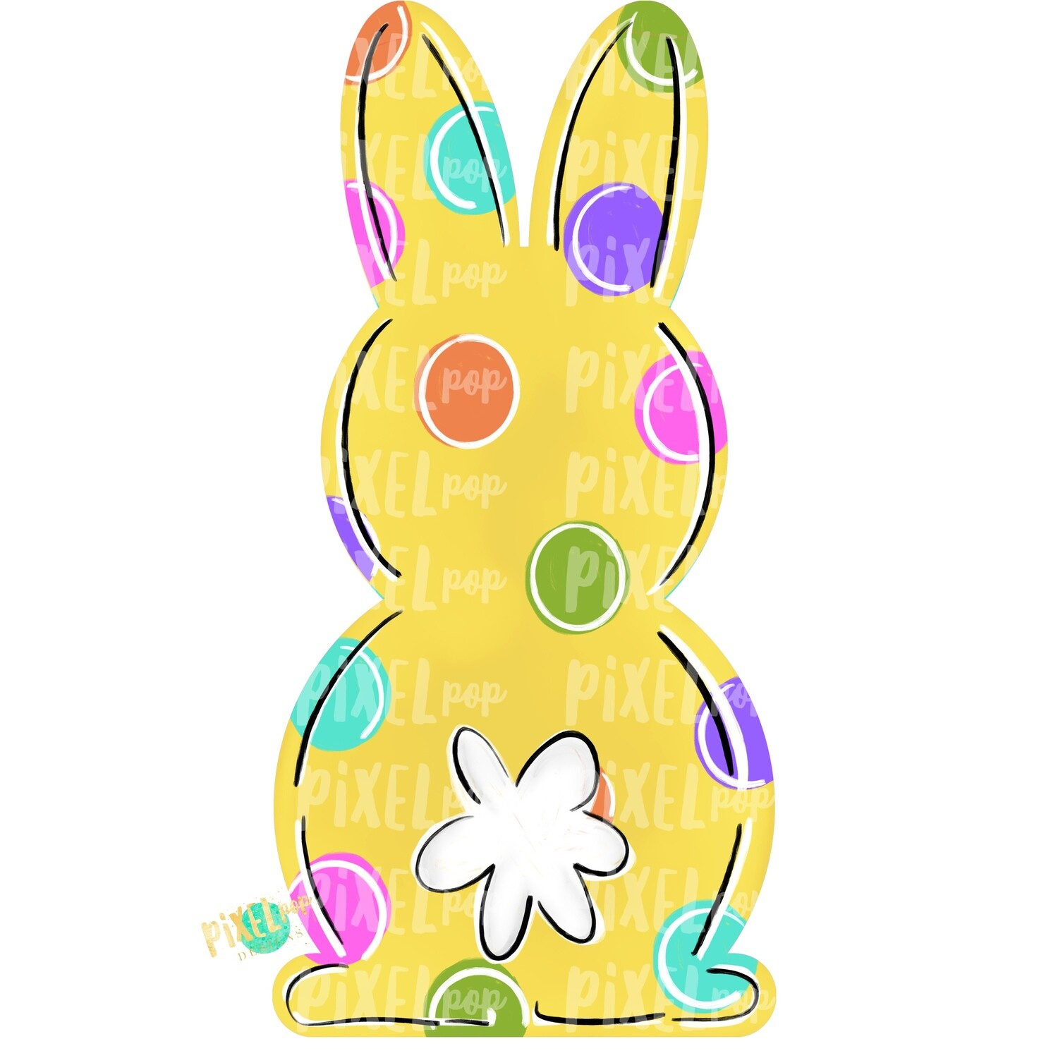 Bunny Back Yellow Easter PNG | Easter Bunny | Easter | Rabbit | Hop | Bunny PNG | Bunny Design | Bunny Tail | Easter Design | Easter PNG