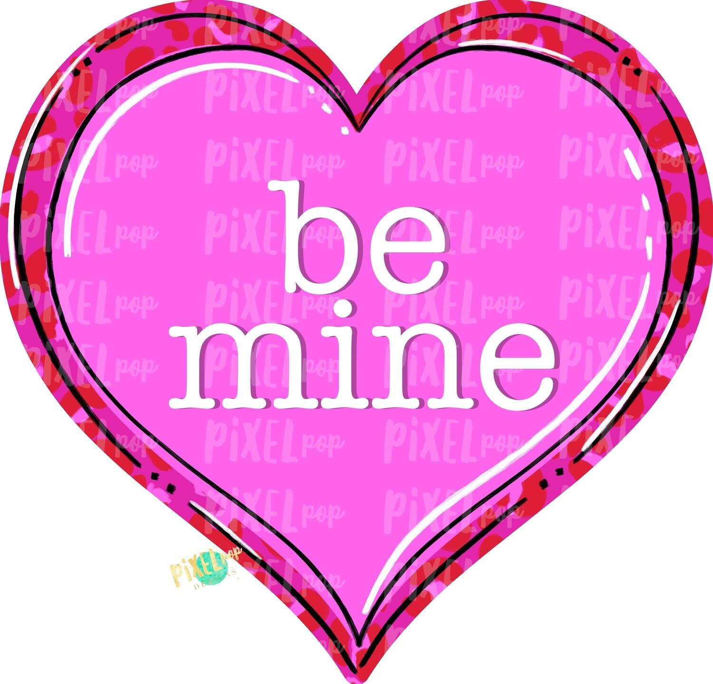 Be Mine Leopard Print Heart PNG   Valentine's Day   Leopard Print Hearts   Love   Valentine   Hand Painted   Digital Design   Printable Art