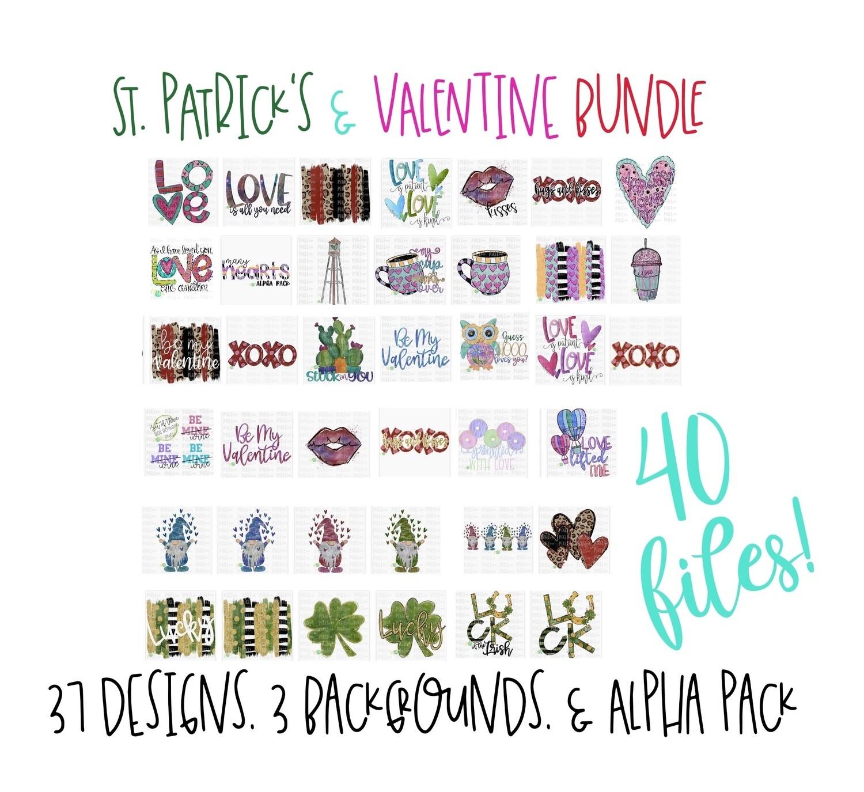2019/2020 St. Patrick's + Valentine Favorites Bundle (40 PNG Files + Alpha Pack)