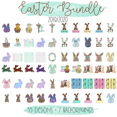 2019/2020 Easter Favorites Bundle (53 Full PNG Designs + 7 Digital Backgrounds)
