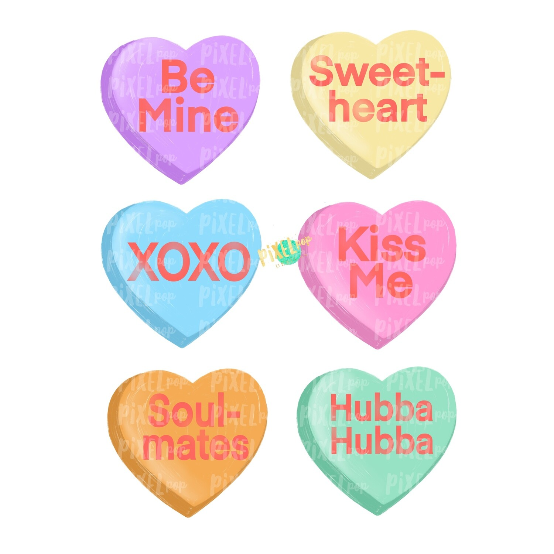 Candy Hearts Valentine Design PNG | Valentine's Day | Conversation Hearts | Love | Valentine | Hand Painted | Digital Design | Printable Art