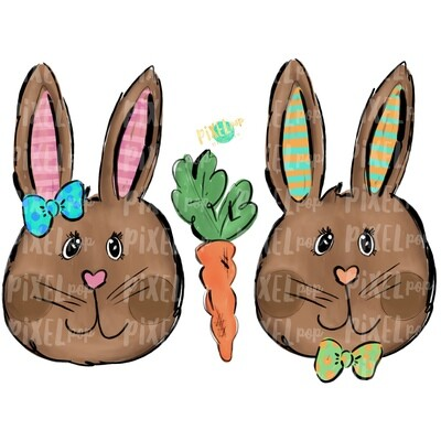 Whimsy Bunny Pair PNG | Easter Bunny | Easter Rabbit | Sublimation | Heat Transfer PNG | Digital Download | Printable Artwork | Clip Art