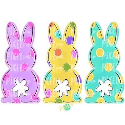 Bunny Back Trio Easter PNG | Easter Bunny | Easter | Rabbit | Hop | Bunny PNG | Bunny Design | Bunny Tail | Easter Design | Easter PNG