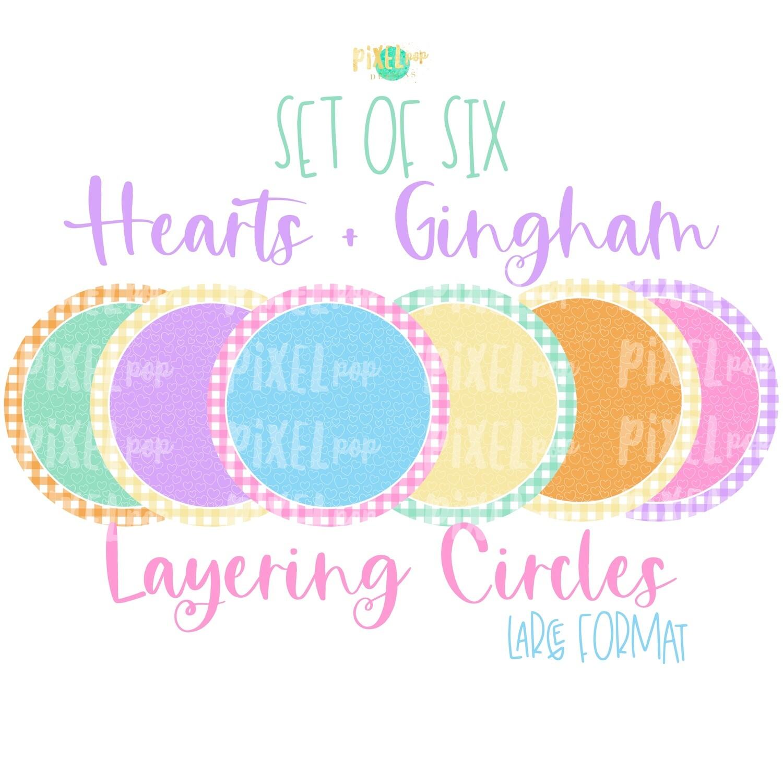 Hearts and Gingham Digital Circle Set of Six PNG | Valentine Background Set | Sublimation | Digital Download | Printable Artwork | Clip Art
