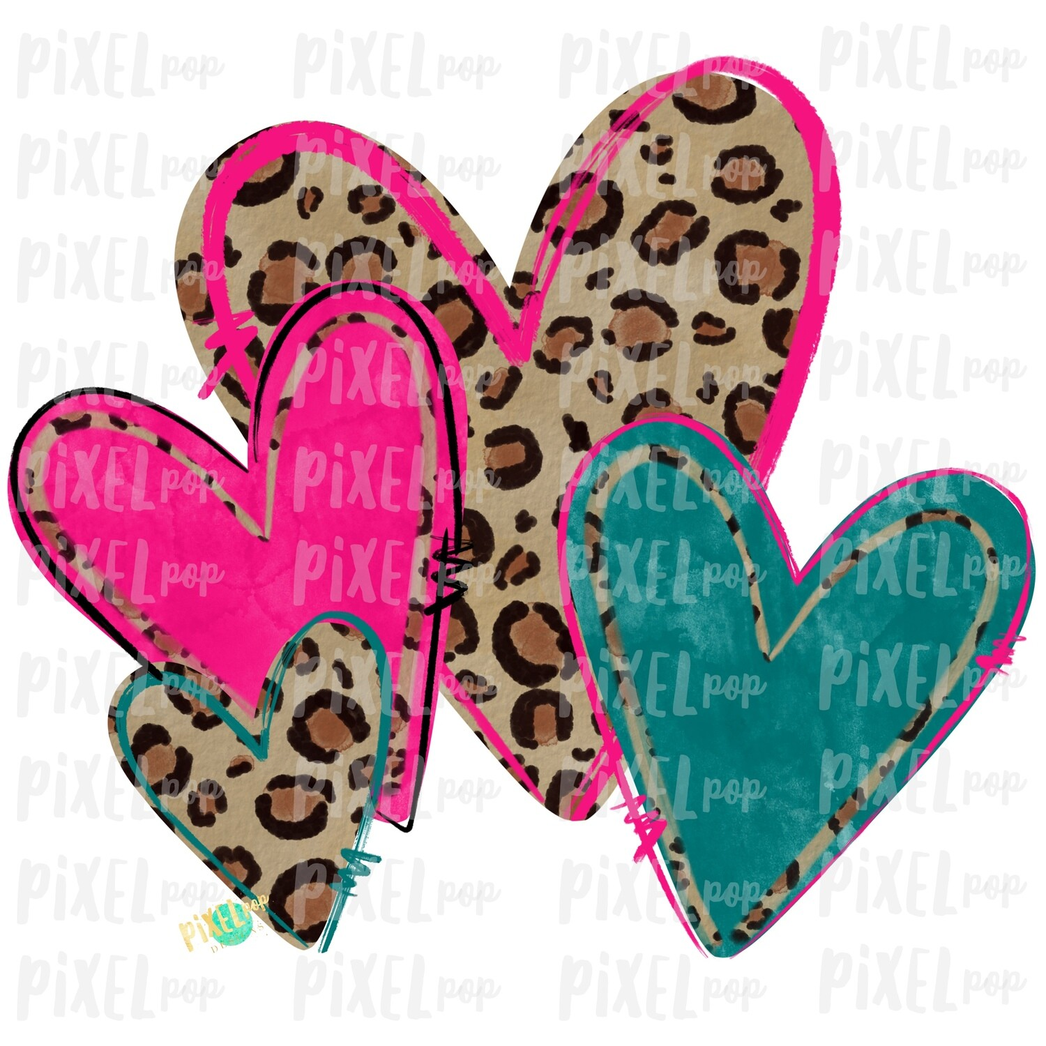 Leopard Print Hearts Pink and Turquoise Valentine PNG | Valentine Hearts | Leopard Heart | Hand Painted Art | Digital Design | Printable Art