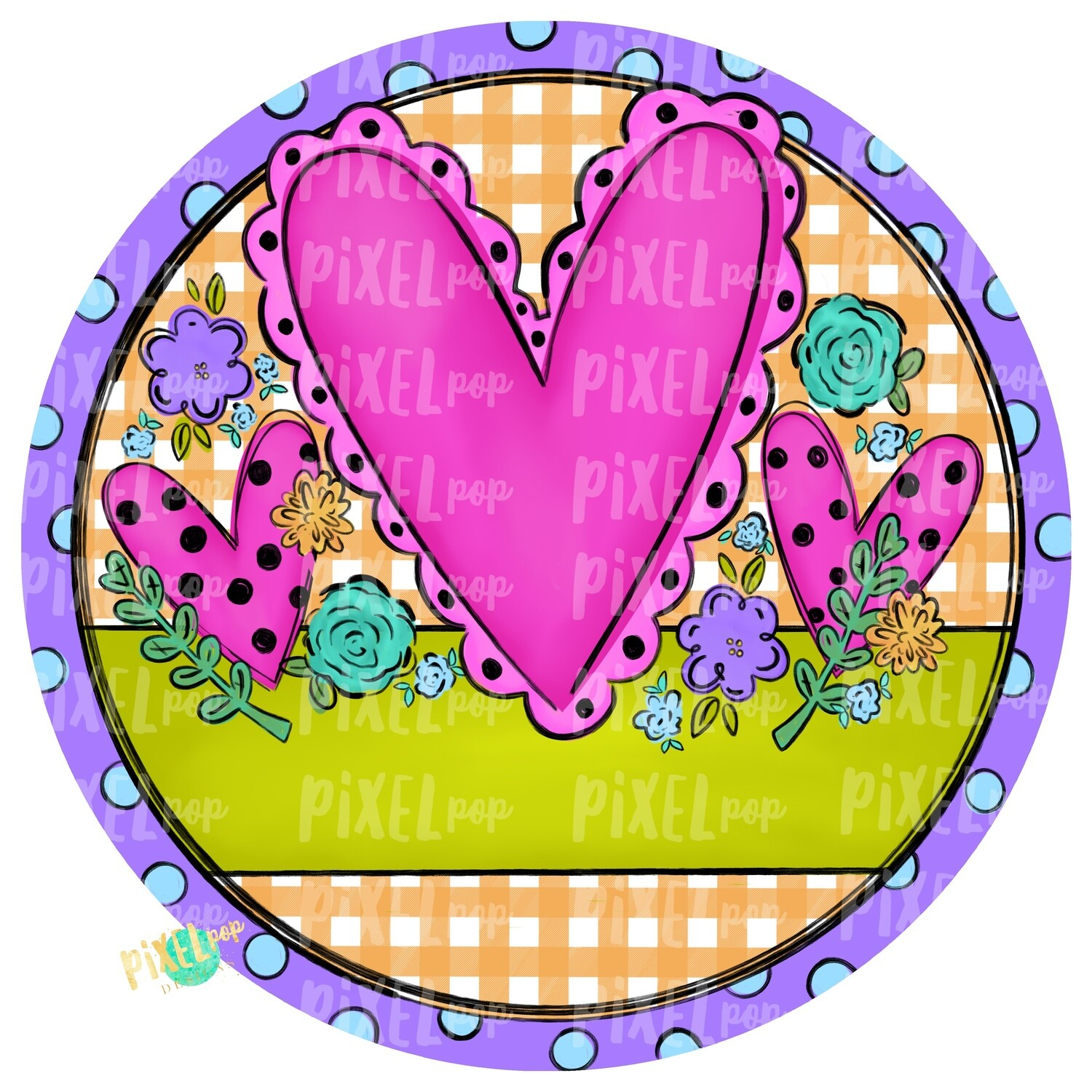 Hearts and Flowers Circle PNG | Valentine Hearts | Valentine Art | Happy Valentine's Day | Hand Painted Digital Art | Digital Clip Art
