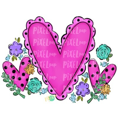 Hearts and Flowers PNG | Valentine Hearts | Valentine Art | Happy Valentine's Day | Hand Painted Digital Art | Digital Design | Printable