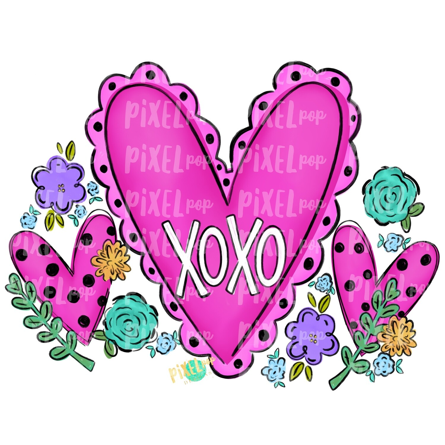 Hearts and Flowers XoXo PNG | Valentine Hearts | Valentine Art | Happy Valentine's Day | Hand Painted Digital Art | Digital Clip Art