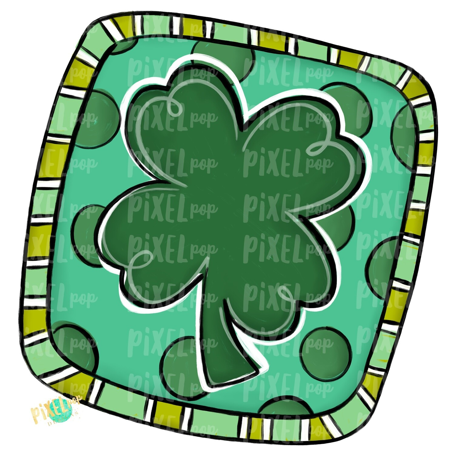 Square Clover Saint Patrick's Day PNG   Four Leaf Clover Art   Hand Painted Art   Digital Art   Printable   St. Paddy's Day Sublimation