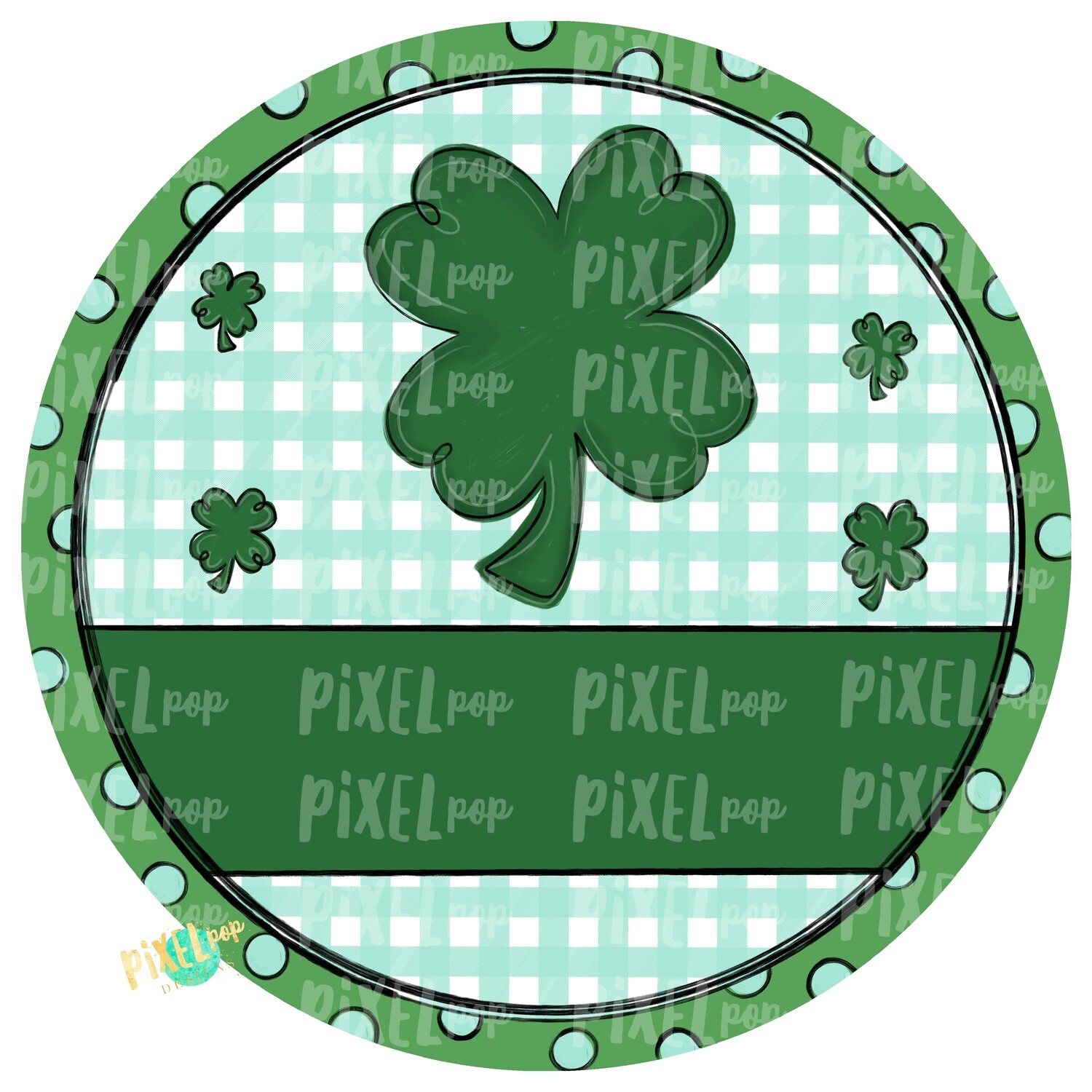 Circle Saint Patrick's Day PNG | Four Leaf Clover | Lucky PNG |  Hand Painted Art | Digital Art | Printable | St. Paddy's Day Sublimation